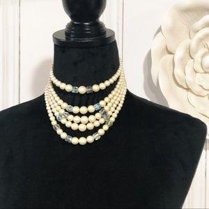 Vintage Multi-Strand Pearl Choker Necklace